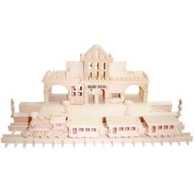 Dřevěné skládačky 3D puzzle slavné budovy - Nádraží  P140
