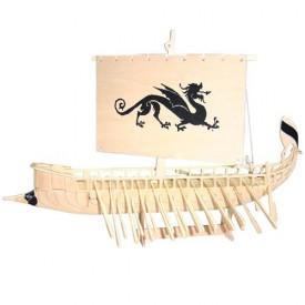 Dřevěné 3D puzzle lodě - dřevěná skládačka - Galéra P149