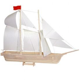 Dřevěné 3D puzzle lodě - dřevěná skládačka - Loď škuner P150