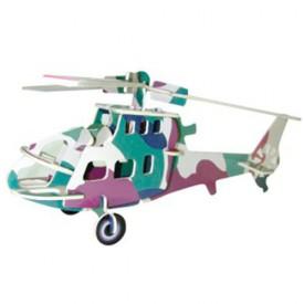 Dřevěné skládačky 3D puzzle letadla - Vrtulník PC007
