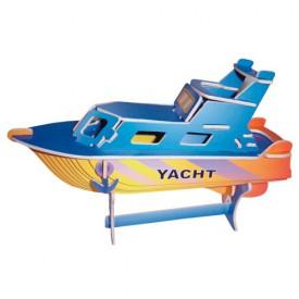 Dřevěné 3D puzzle lodě - dřevěná skládačka - Jachta PC041