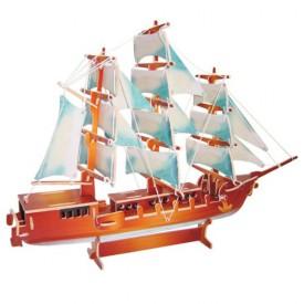 Dřevěné 3D puzzle lodě - dřevěná skládačka Plachetnice PC049