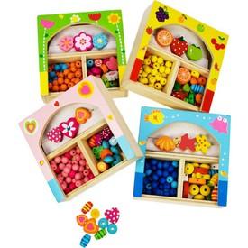 Bigjigs Toys Dřevěné navlékací korále v krabičce malé 1ks
