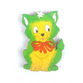 Dřevěné dekorace - dřevěná magnetka - kočka zelená