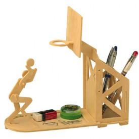 Dřevěné skládačky 3D puzzle Stojánek na tužky Basketbal S004