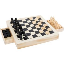 Small Foot Dřevěné kompaktní šachy 3v1