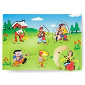 Dřevěné hračky - Vkládací puzzle ozvučené - Hudební nástroje