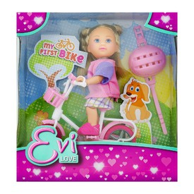 SIMBA Panenka Evička na kole v barevných kraťáskách