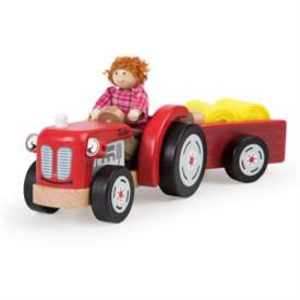 Tidlo Dřevěný traktor s postavičkou